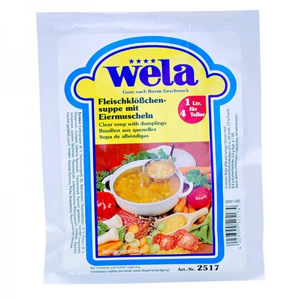 Fleischklöschensuppe mit Eiermuscheln