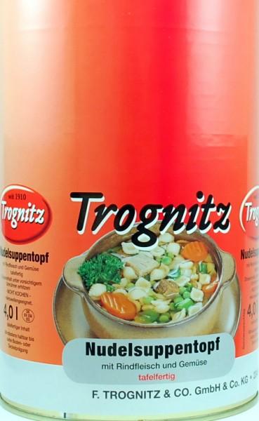 Nudel-Suppentopf mit Rindfleisch und Gemüse
